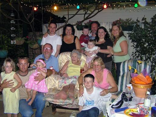 Image: a photograph of my mother and all her descendants, including Paul and myself