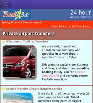 Taxi Star Transfers home page